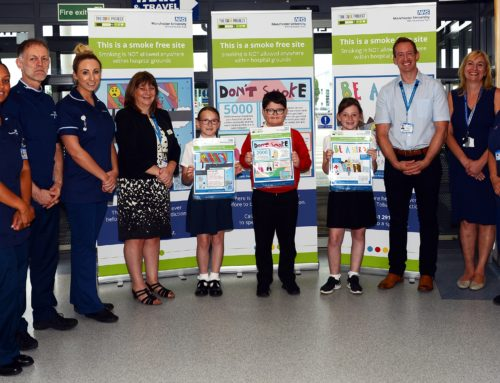 Local school pupils unveil 'stop smoking' poster designs at Wythenshawe Hospital